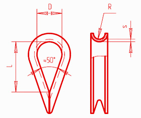 Коуш для стальных канатов (ГОСТ 2224-93)